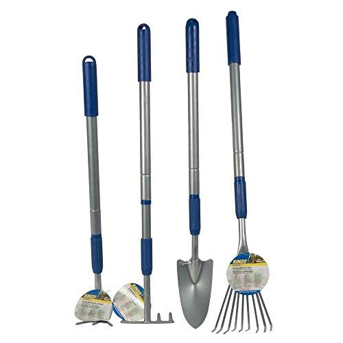 4tlg. Gartengeräteset mit Aluminiumteleskopstiel Gartengeräte Gartengerät Gartenwerkzeug Rechen Harke Hacke Furche