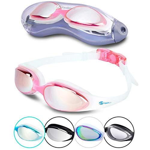 i-Swim Pro Swimming Goggles - Anti Fog Technology - Crystal Clear Vision - Watertight - Comfortable - 100% Moneyback Guarantee - Mirrored With UV Protection - Swim Goggle For Men And Women Best For Adults Kids Boys And Girls - Includes *FREE* Premium Protective Case *FREE* Nose Clip And *FREE* Ear Plugs (3 Pink) (Nase Schwimmen-schutzbrillen Für Mit Kinder)