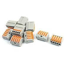 sourcingmap® Lot de 10 blocs de jonction à 5 lampes AC 250 V 32A 0. 08-2.5mm2 0. 08-4.0mm2