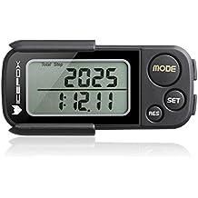 Pédomètre, icefox Pedometer 3D, mémoire 30 jours Tracker d'activité Fitness avec précision Course à Pied étape compteur, temps d'exercice et compteur de calories, Cible Moniteur de performances quotidiennes, technologie Tri-Axis, clip et sangle, Noir