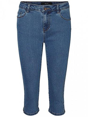 Vero Moda Damen Capri Jeans Skinny Fit Bermudas Denim (44 (Herstellergröße: XXL), Medium Blue Denim)