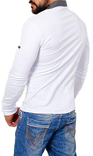 ReRock Herren 2in1 Longsleeve Hemd Kragen Shirt Pullover Langarm mit Tiefem V-Ausschnitt Einfarbig Slimfit Stretch Weiß
