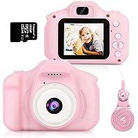 HOMMIE Macchina Fotografica per Bambini Fotocamera 1080 HD 16G SD(Incluso) Selfie Videocamera e 3 Giochi 2 Rosa