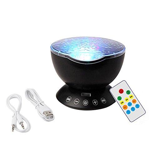 Generic Ocean Light Nachtlicht Audio Kabel 7Farben Ocean Wave Starry Sky LED-Projektor Neuheit RC Lampe Illusion LICHT FÜR babychildren-Schwarz