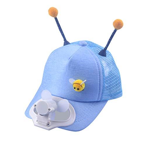 Fenverk Kinder Baseball-Mütze USB Aufladen Mini-Ventilator umweltfreundliches Camping- und Reisezubehör(Blau)