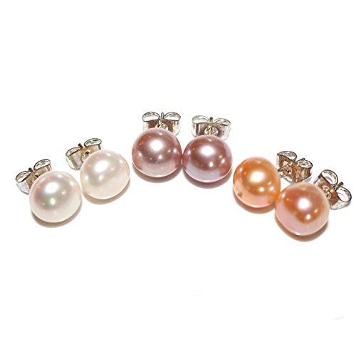 Es Drei Licht (3 Paar 9mm Sterling Silber Süßwasser Perlen Ohrstecker Ohrringe von Kurtzy-Weiße, Pfirsich und Lila Ohrstecker-Klassische Mode Ohrringe für Hochzeiten und Feste-Einstellbare Schmetterlingsrücke)