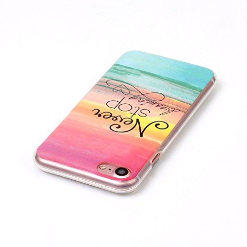 iPhone 7 Hülle,iPhone 7 Case, Cozy Hut Kreativ Design 3D Transparent TPU Hard Case Hülle Diamond Sequins Hülle Tasche Handyhülle Glitter Glitzer Sparkle Hart Plastik HardCase Crystal Clear Rückseite H Die Sonne nie untergeht