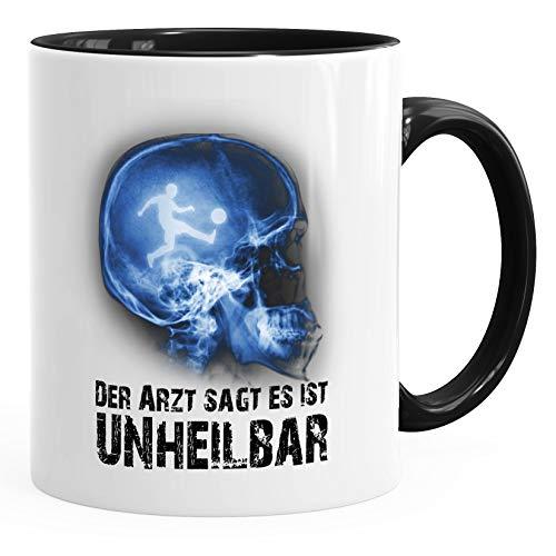 Moonworks® Kaffee-Tasse Xray Der Arzt sagt es ist unheilbar Hobby Schädel Röntgenbild Fußball soccer Fußballer Geschenk-Tasse schwarz unisize