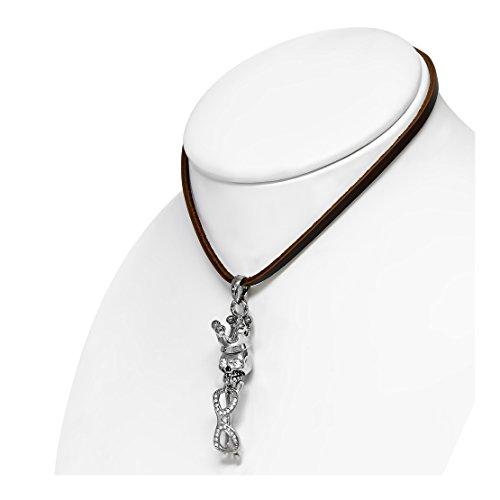 Mode-Legierung 2-Ton Prinzessin Kronen-Schädel-Sonnenbrille Charm Brown Leather Biker Halskette mit klarer (Sonnenbrillen Krone)