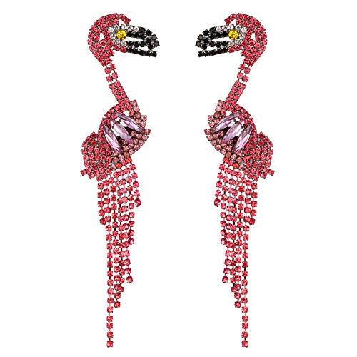 QTKJ 1 Paar modische Damen Quaste Pink Lange Ohrringe Flamingo Edelstein Tropfenohrringe