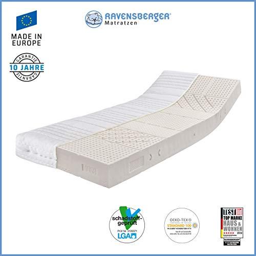 Ravensberger Matratzen Natur-Latex 7-Zonen-Premium-Latexmatratze | H3 RG 80 (80-120 kg) | Made IN Germany | LATEXCO-Stiftlatex mit 85% Naturkautschuk | MEDICORE silverline-Bezug | 90 x 200 cm