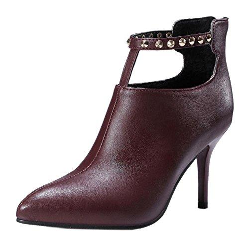 RAZAMAZA Femmes Aiguille Chaussures Fermeture Eclair red