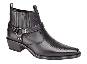 US Brass EASTWOOD Mens Cuban Heel Ankle Western Leather Look Cowboy Boots from US Brass