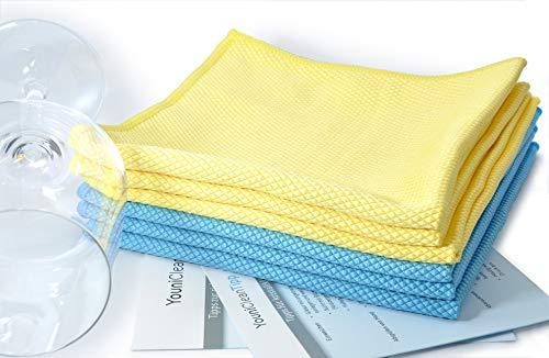 YouniClean 6 Stück Vorteils-Pack 40 x 40 cm Profi Glaspoliertücher Microfaser/blau-gelb +...