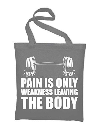 Pain is only weakness leaving the body Jutebeutel, Beutel, Stoffbeutel, Baumwolltasche, gelb Light Grey