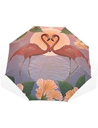 GUKENQ Paraguas de Viaje romántico Rojo flamencos la Luna Paraguas Ligero Anti UV Sol Lluvia Paraguas