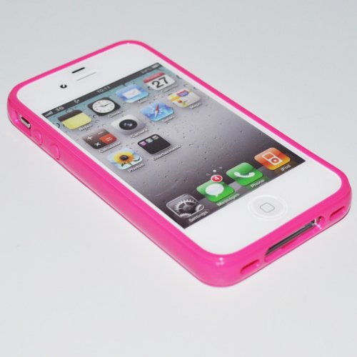 iPhone 4s Case, Dynamic ¨ [Cushioned Thin Gel Bumper] Premium Frosted Clear TPU Case ** New ** [Rose Pink] Scratch Resistant Hard Cover Bumper Case for iPhone 4 and iPhone 4s à Rose Pink
