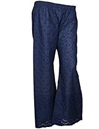 IndiWeaves Navy Blue Cotton Full Chikan Work Trendy And Stylish Pallazo Pant For Women