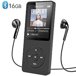 MP3 Player, AGPTEK 16GB Bluetooth 4.0 MP3 Player mit Kopfhörern, 1.8 Zoll 70 Stunden Wiedergabezeit Digital Kinder MP3 Player FM Radio, bis 128G SD Karte, (Verpackung MEHRWEG), Schwarz