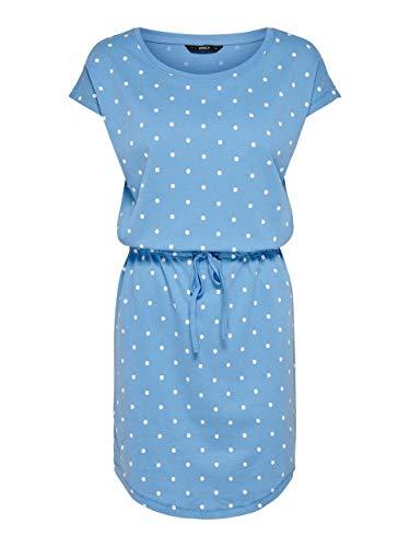 ONLY NOS Damen Onlmay S/S Dress Noos Kleid, Mehrfarbig (Marina AOP: Dot Cloud Dancer), 42 (Herstellergröße: XL)