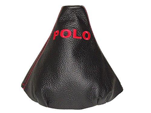 """Per Volkswagen Polo 9N 9N22002-09Gear ghetta Nero in vera pelle rosso """"Polo Ricamo"""