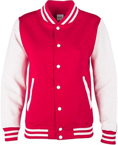 Kinder 1914 Kostüm - EZYshirt® Unisex Damen Herren & Kinder College Jacke, Damen/Rot/Weiss/Weiss, 7-8/122-128
