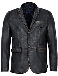 Men's 3450 Millano 2 Button Classic Blazer Black Rub Off Real Lambskin Leather Jacket Coat