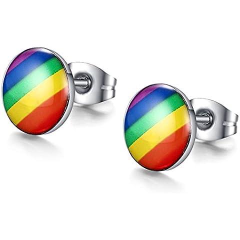 YC Top Rainbow Classic de acero inoxidable redondo unisex pendientes