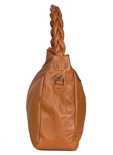 Italienische Beuteltasche Schultertasche mit Flechtriemen aus weichem Nappaleder (33 x 33 x 15 cm) Cognac Braun