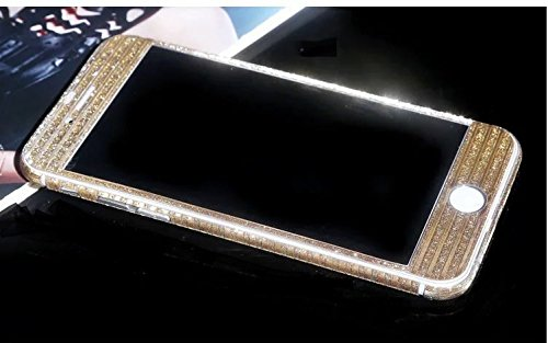 FAS1Neue Version Kristall Diamant Sparkling Body Bling Glitzer Aufkleber Skin Film Case für Apple iPhone 6/6S Plus 14cm, Champagnerfarben / goldfarben, Meteor Shower Style Champagnerfarben / goldfarben