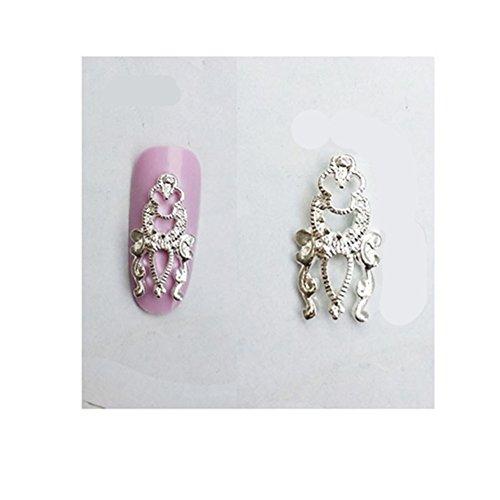 Générique 5Pcs/Lot 3D Décoration Bijoux D'Ongles Vintages Argentées