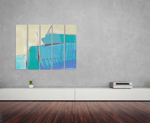Abstrakte Malerei beige hellblau rot 5x30x120cm XXL extra großes 5-teiliges Wandbild auf Leinwand und Keilrahmen fertig zum aufhängen – Unsere Bilder auf Leinwand bestechen durch ihre ungewöhnlichen Formate und den extrem detaillierten Druck aus bis zu 100 Megapixel hoch aufgelösten Fotos.