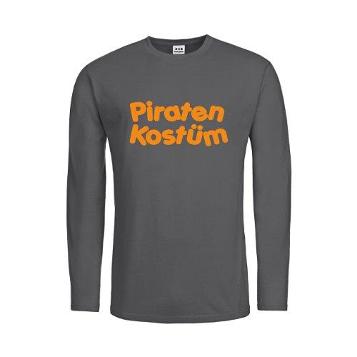 dress-puntos Herren Langarm T-Shirt Piraten Kostüm drpt-mtls00393-65 Textil darkgrey / Motiv neonorange Gr. XXL