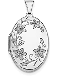 925 Sterling Silver 32mm Floral Oval Photo Pendant Charm Locket Chain Necklace That Holds Pictures Fine Jewelry For Women Gift Set
