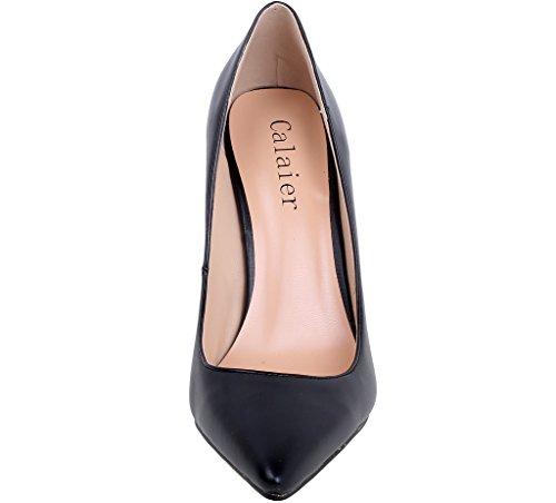 Calaier Femme Caelse Pointures Européennes 34-46 Aiguille 12CM Glisser Sur Escarpins Chaussures Noir Mat