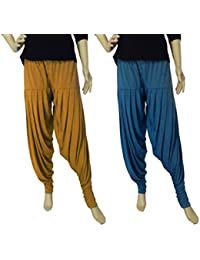 FABRICS CLOUD Women's Viscose Spandex Premium Full Patiala Salwar Pant (Combo Pack Of 2)