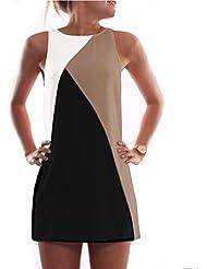 Damen ärmellose drei farbig Kleid