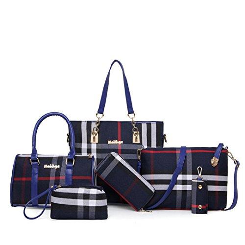 wewo wasserdicht henkeltasche shopper Kariert umhängetasche Damen schultertasche classic Leinwand damentaschen Groß handtaschen Tote 6 Stück set (Blau) -