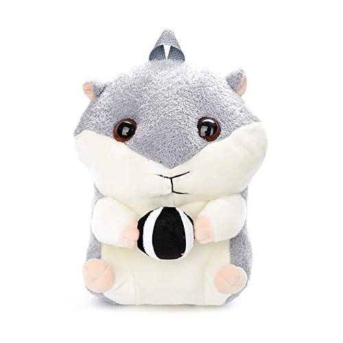 Warooma 3D Kuscheliger Plüsch gefüllt Hamster Knapsack niedliche Hamster Hase Puppe Verschluss Rucksack Tasche mit Reißverschluss Verstellbarer Schultergurt Schule Kinder (Hamster Tasche)