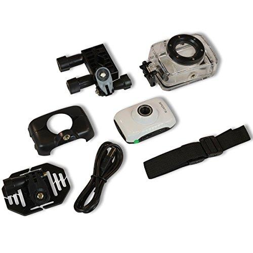Action Kamera mit wasserdichtem Gehäuse, HD Aufnahmen mit 720p, 1,77 Zoll-LCD-Bildschirm, Fotos mit 5 Megapixel, Eingebautes Mikrofon, Speicher: Micro SD-Karte bis zu 32 GB (seperat erhältlich), Stromversorgung über eingebauten 3,7 Volt Li-Ionen Akku, Aufladbar über USB, Fotoformat: JPEG, Kamera-Zoom: 4-fach digital, Linsenwinkel: 120 Grad