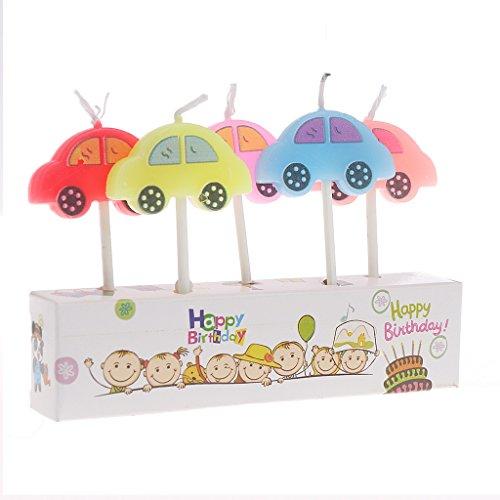 Misright Party Supply 5PCS Cartoon Candele Happy Birthday Cake Topper Cute Decoration Car Multicolo