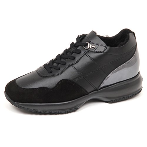 Hogan E4818 Sneaker Donna Nero Interactive Scarpe Interno ecopelo Shoe Woman [38]