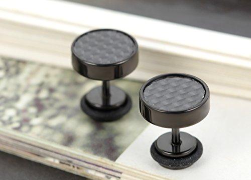 Flongo Fashion Boucle d'Oreille Homme Carbone Fibre noir