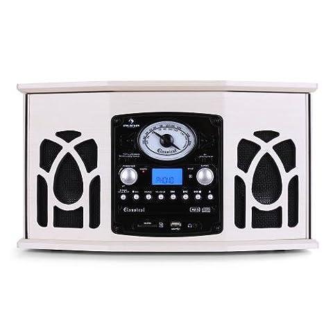 auna • NR-620 • Retroanlage • Plattenspieler • Stereoanlage • Riemenantrieb • max. 45 U/min • Radio-Tuner • UKW/MW-Empfang • Frequenzbandanzeige • Stereolautsprecher • USB/SD-Eingang • Kassettendeck • Digitalisierungsfunktion • Fernbedienung • creme