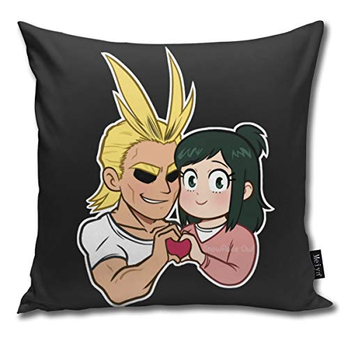 CAPSOCKS Decorative Throw Square Pillow Case Cover 18X18Inch,Cotton Cushion Covers All Might and inko Beefy Might Version Both Sides Printing Invisible Zipper Home Decor Pillowcase