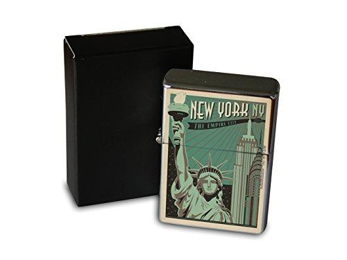 Chrom Sturm Feuerzeug Benzin Bedruckt Stadt New York City Hochhäuser Freiheitsstatue