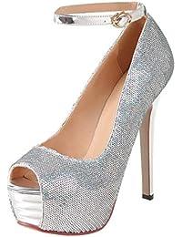 158548449 Coolulu Mujer Sandalias de Tacón Alto con Plataforma Punta Abierta  Adornadas de Lentejuelas Zapatos Brillantes para