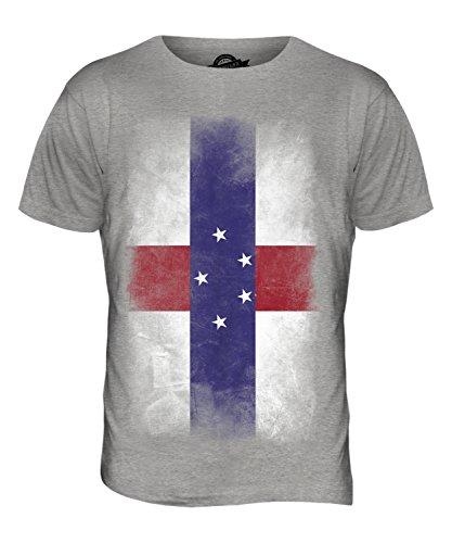 CandyMix Niederländische Antillen Verblichen Flagge Herren T Shirt Grau Meliert