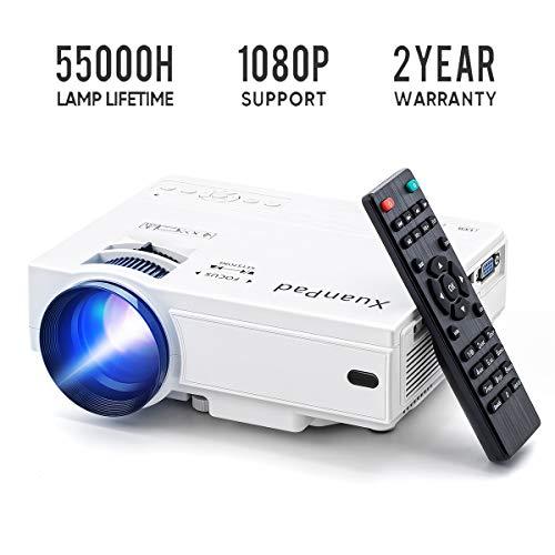 XuanPad Mini Proyector Multimedia Vídeo Proyector LCD, 55000 Horas Proyector de Cine...