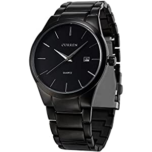 AMPM24 Analog Herren Armbanduhr Quarzuhr mit Schwarze Armband aus Metall Datumanzeige CUR048 + AMPM24 Geschenkbox